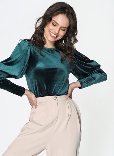 Loves You Yarım Balon Kol Kadife Bluz Yeşil